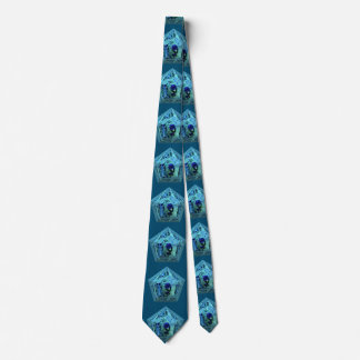 Abstract pyramid with blue waterpearl tie