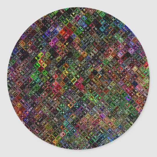 Abstract Quilt Classic Round Sticker