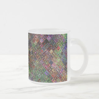Abstract Quilt Frosted Glass Coffee Mug