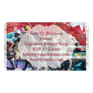 Abstract Race Horses Collage Business Card