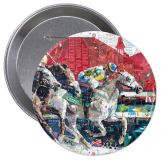 Abstract Race Horses Collage 4 Inch Round Button