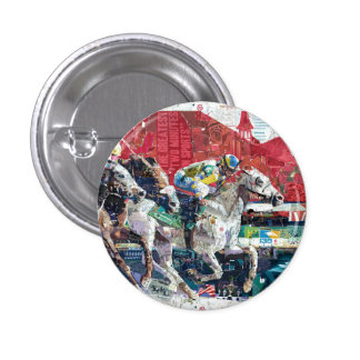 Abstract Race Horses Collage 1 Inch Round Button