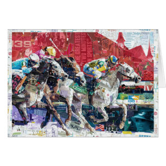Abstract Race Horses Collage Card