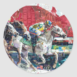 Abstract Race Horses Collage Classic Round Sticker