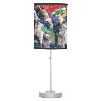 Abstract Race Horses Collage Desk Lamp