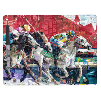 Abstract Race Horses Collage Dry Erase Board With Keychain Holder