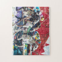 Abstract Race Horses Collage Jigsaw Puzzle