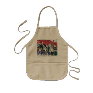 Abstract Race Horses Collage Kids' Apron