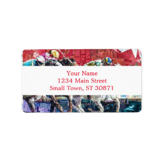Abstract Race Horses Collage Label