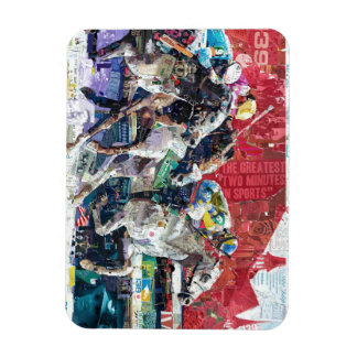 Abstract Race Horses Collage Magnet