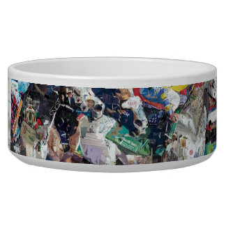 Abstract Race Horses Collage Pet Bowls