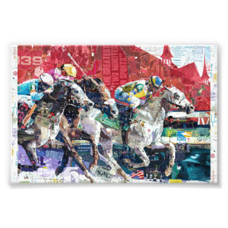 Abstract Race Horses Collage Photo Print