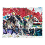 Abstract Race Horses Collage Postcard