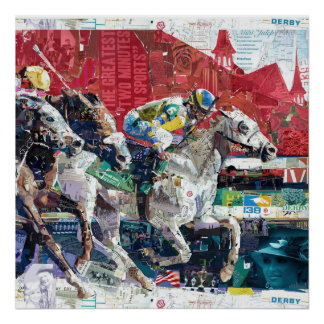 Abstract Race Horses Collage Poster