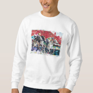 Abstract Race Horses Collage Pull Over Sweatshirt