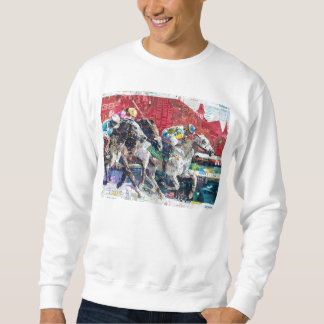 Abstract Race Horses Collage Pull Over Sweatshirts