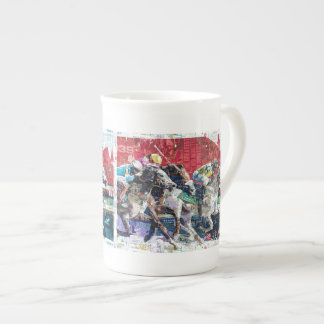 Abstract Race Horses Collage Tea Cup