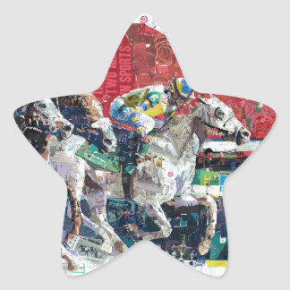 Abstract Race Horses Collage Star Sticker