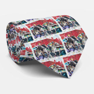 Abstract Race Horses Collage Tie