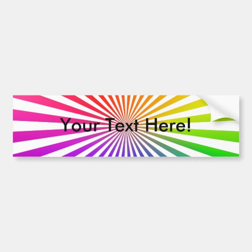 Abstract Radial Lines: Rainbow Car Bumper Sticker