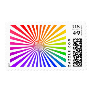 Abstract Radial Lines: Rainbow Postage