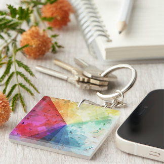 Abstract Rainbow Beams Keychain