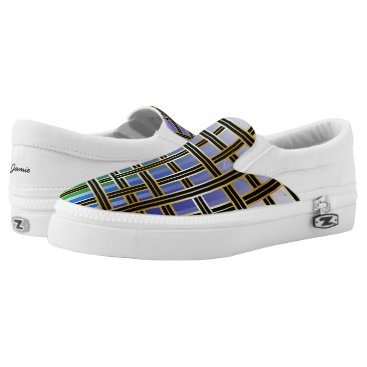 Abstract Rainbow Colored Criss Cross Box Pattern Slip-On Sneakers