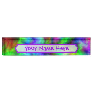 Abstract Rainbow Colors Nameplate
