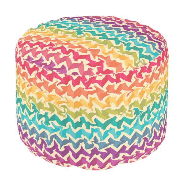 Abstract Rainbow coloured pouffe Pouf
