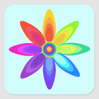 Abstract Rainbow Flower Square Sticker