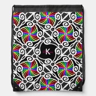Abstract Rainbow Geometric Pattern personalizable Drawstring Bag