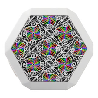 Abstract Rainbow Geometric Pattern personalizable White Bluetooth Speaker