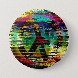 Abstract Rainbow Grunge Peace Button