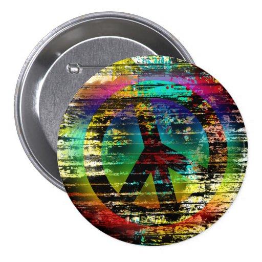 Abstract Rainbow Grunge Peace Button