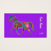abstract rainbow horse  trotting business card