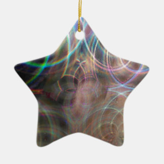 Abstract Rainbow Light Patterns Ceramic Ornament