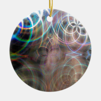 Abstract Rainbow Light Patterns Ceramic Ornament