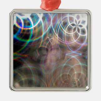 Abstract Rainbow Light Patterns Metal Ornament