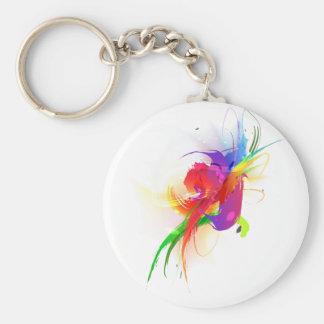 Abstract Rainbow Lorikeet Paint Splatters Basic Round Button Keychain