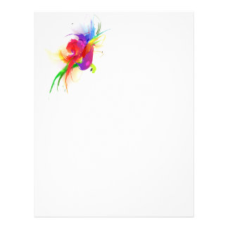 Abstract Rainbow Lorikeet Paint Splatters Letterhead