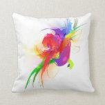 Abstract Rainbow Lorikeet Paint Splatters Throw Pillow