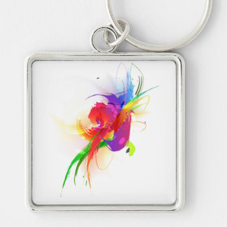 Abstract Rainbow Lorikeet Paint Splatters Silver-Colored Square Keychain