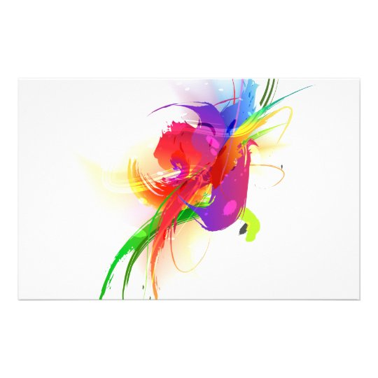 Abstract Rainbow Lorikeet Paint Splatters Stationery