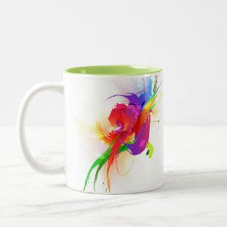 Abstract Rainbow Lorikeet Paint Splatters Two-Tone Coffee Mug