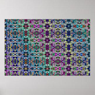 Abstract Rainbow Mandala Fractal Poster