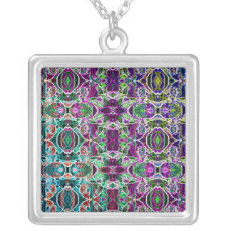 Abstract Rainbow Mandala Fractal Silver Plated Necklace