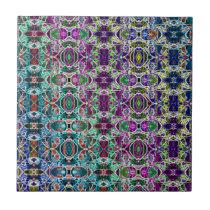 Abstract Rainbow Mandala Fractal Small Square Tile