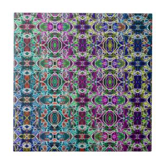 Abstract Rainbow Mandala Fractal Tiles