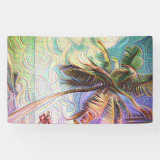 Abstract Rainbow Palm Tree Banner