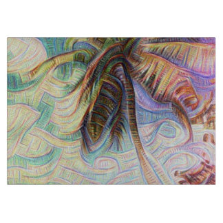 Abstract Rainbow Palm Tree Cutting Board